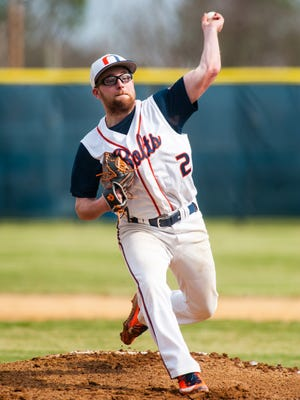 Millville starter Bobby Roslewicz (2) throws to the plate against Buena Regional at Millville High School on Monday, April 3.