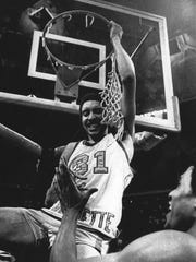 Marquette's Bo Ellis celebrates the 1977 NCAA championship victory.
