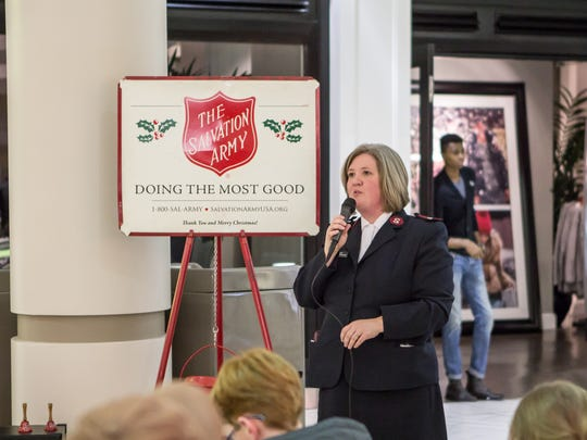 Jayne Brewster delivers a speech kicking off the Christmas season for the Salvation Army in this 2014 file photo at the Old Hickory Mall.