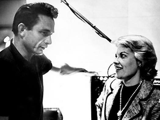 Recording stars Patti Page, right, and Johnny Cash