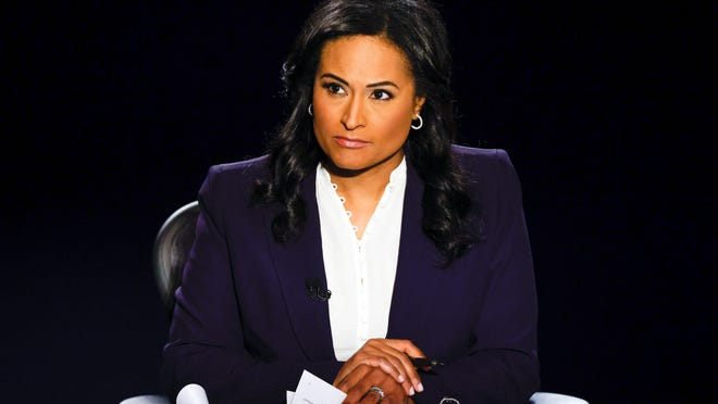 Moderator Kristen Welker of NBC News listens as President Donald Trump and Democratic presidential candidate former Vice President Joe Biden participate in the final presidential debate at Belmont University, Thursday, Oct. 22, 2020, in Nashville, Tenn.