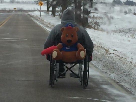 Dennis Schulze of Beloit during his wheelchair trek