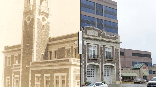 The central fire station in Sioux Falls in a before-and-after photo.