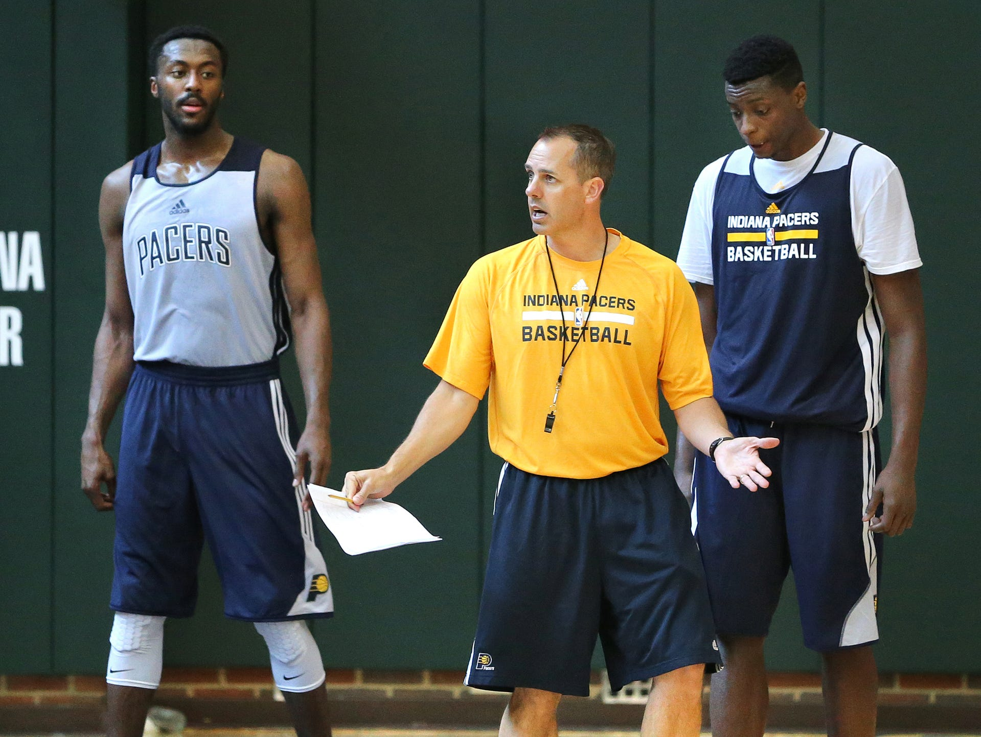 Pacers head coach Frank Vogel gives some direction