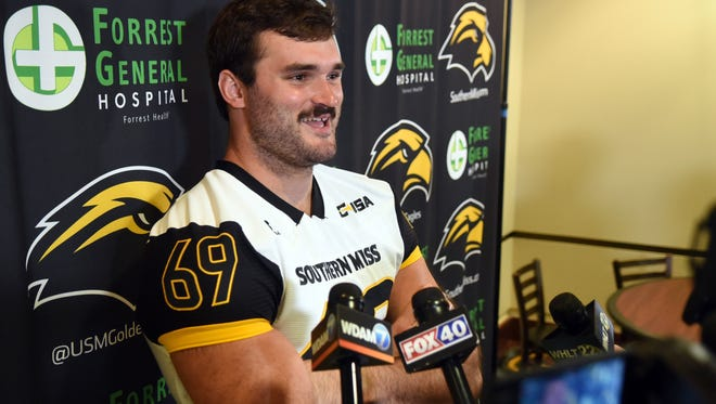 Southern Miss football player Will Freeman answers questions during a USM football media day on Saturday.