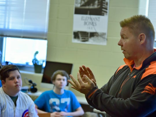 In this 2017 file photo, state Sen. Rich Alloway talks to students in Joshua Bound's class at Career Magnet School about Senate Bill 100. The bill involves Lyme disease education and how they can become active as a Chambersburg student.