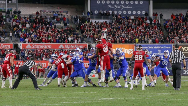 Indiana played in the New Era Pinstripe Bowl at Yankee Stadium last year, losing to the  Duke Blue Devils on this field goal. Duke won 44-41 in overtime.