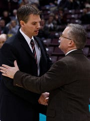 Missouri State coach Paul Lusk (left) played at Southern Illinois and was an assistant coach there. SIU coach Barry Hinson (right) coached at Missouri State for nine seasons.