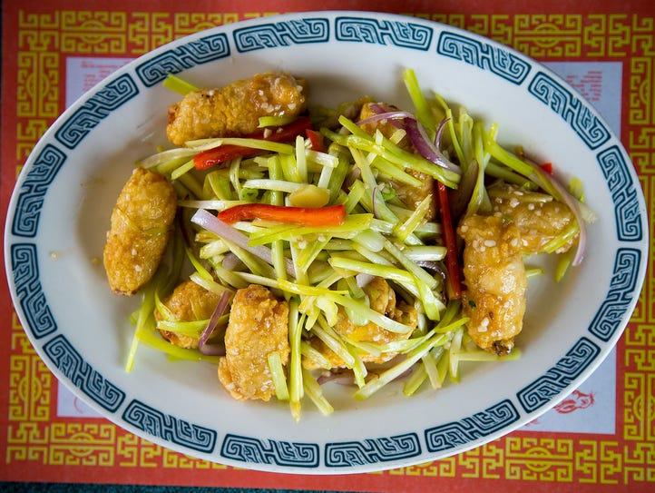 Fish fillet and sausage rolls at Asian Hong Kong Diner.