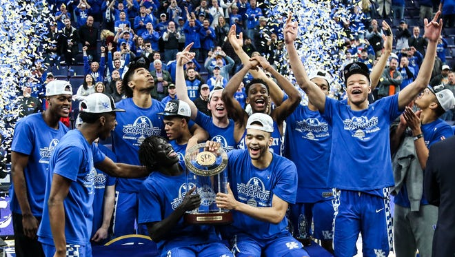 Kentucky celebrates their 2018 SEC Championship Sunday afternoon in St. Louis. March 11, 2018