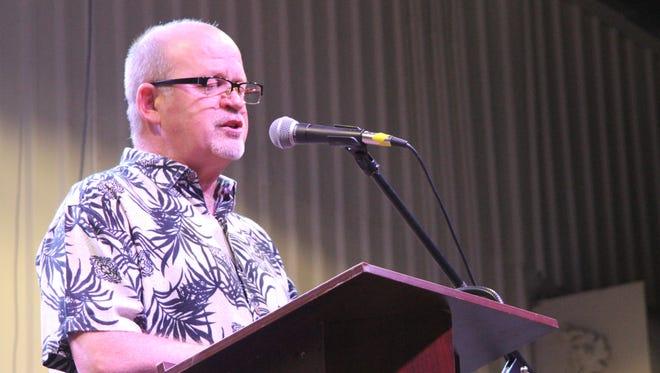 Pastor Chris Nikkle offers a prayer at the Mayor's Prayer Breakfast on Oct. 20 in Carlsbad, N.M.