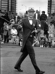 Mayor William Hudnut served as honorary leprechaun for the 1989 St. Patrick's Day parade.