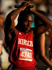 Hirschi's Roman Turner watches the scoreboard for his time after Hirchi's fourth place finish in the Class 4A boys 800m relay during the UIL State Track and Field Championships on Saturday, May 13, 2017, at Mike A. Myers Stadium in Austin.