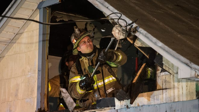 Fire crews extinguished a room and contents fire at 27 S. King St. in Annville on Friday, April 7, 2017. Six people were displaced because of the fire, said Jason Weikel, deputy fire chief for the Annville-Cleona Fire District. A damage estimate and cause were not immediately available.