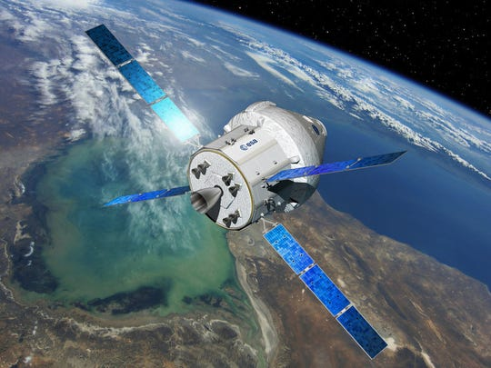 Artist concept of NASA's Orion capsule, with a service