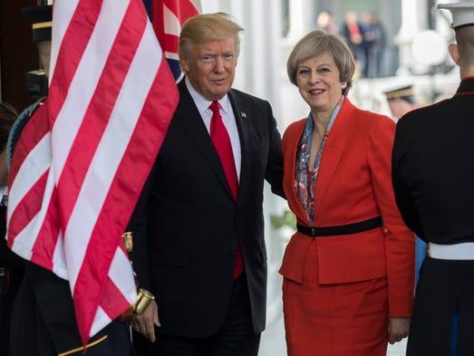 Trump greets British Prime Minister Theresa May as