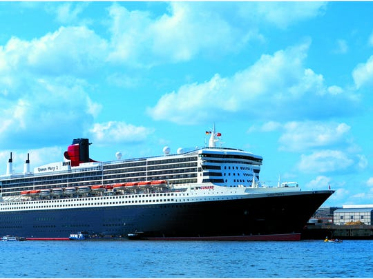 The cruise-ship Queen Mary II on the water.