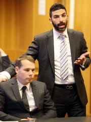 Bradley Friedman, right,   attorney for street artist Shepard Fairey in court for his preliminary examination at Frank Murphy Hall of Justice before Judge Kenneth J. King Tuesday, Sept. 1, 2015.