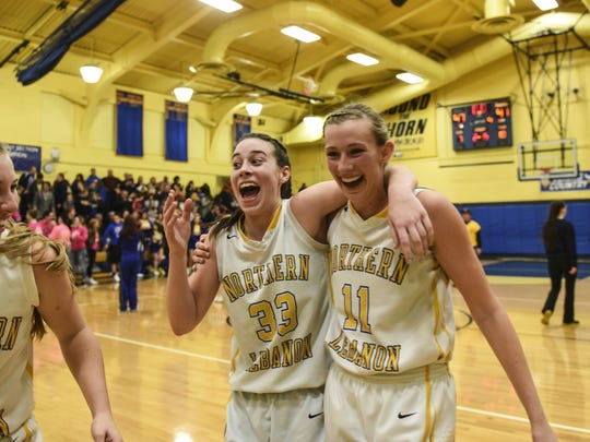 Zoe Zerman, left, and Megan Brandt have been a dynamic duo in leading Northern Lebanon to a 12-1 start.