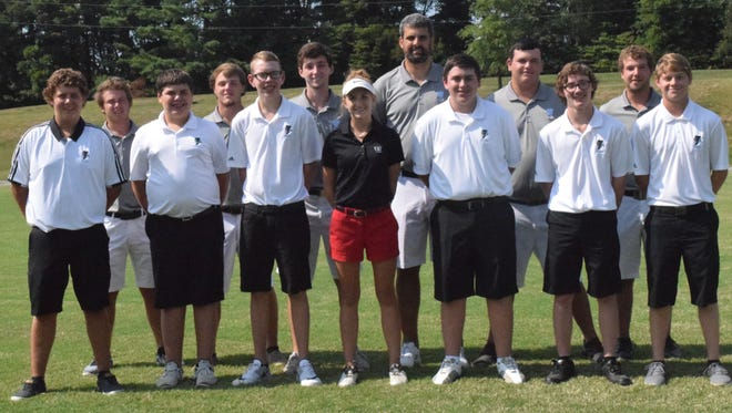 Union County Golf, front row, left to right: Avery Welden, Sam Brown, Kaleb Nelson, Sarah Hagedorn, Christian Cambron, Lane Straub, Ethan Wallace. Second row, left to right: Hanner Cardwell, Lane Welden, Aiden Cassidy, Coach Jeremy Curtis, Jakob Spear, and Chris Hagedorn.