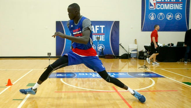 Thon Maker, from Orangeville Prep, participates in the NBA draft basketball combine Friday, May 13, 2016, in Chicago.
