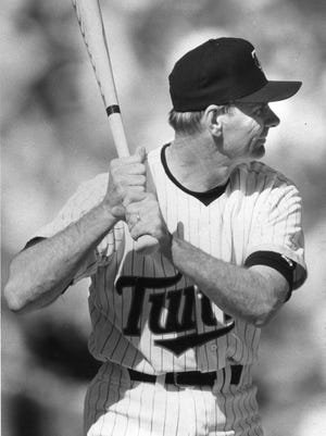 "Arizona Wildcats baseball coach Jerry Kindall, who played for the Minnesota Twins in 1965, gets a chance at bat in the ""Dream Game"" in 1991 Sunday."