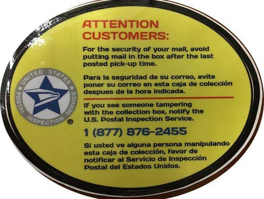 This decal, which warns postal patrons to avoid putting