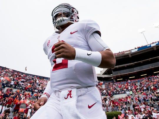 Alabama quarterback Jalen Hurts (2) takes the field