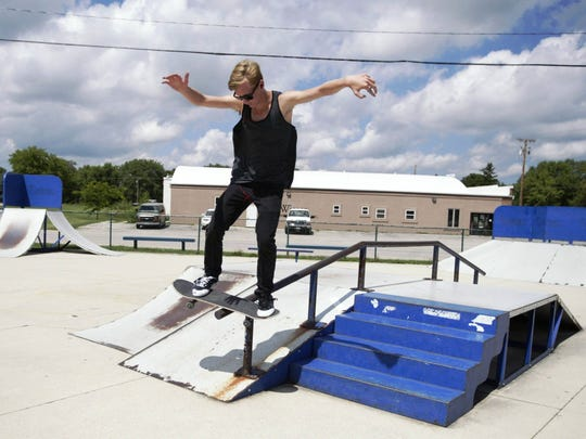 Kieth D'Amato, 16, performs a trick at the Plymouth
