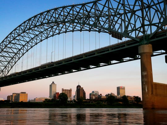 The Memphis skyline can be seen under the Hernando DeSoto Bridge crossing the Mississippi River. The bridge takes its name from Spanish explorer Hernando DeSoto who is believed to be the first European explorer to cross the mighty river.