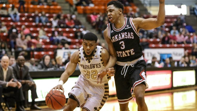 Guard Justin Roberson (32) is averaging 20 points over ULM's last eight games, seven of which the Warhawks have won.