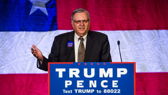 Former Maricopa County Sheriff Joe Arpaio addresses the crowd.