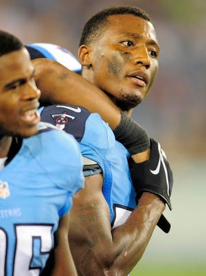 Titans cornerback Tommie Campbell on the sidelines during the third quarter against the Vikings at LP Field.