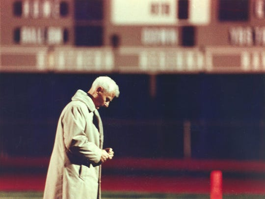 Warren Wolf became the winningest football coach in the state after Brick beat Southern 30-7 on Nov. 13, 1992. This photo is taken prior to that game as Wolf paced the sidelines for 45 minutes while his team practiced. (staff photo: Russ DeSantis)