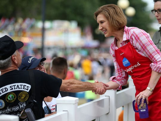 Carly Fiorina greets fairgoers during the Iowa State