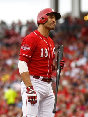 Cincinnati Reds first baseman Joey Votto reacts after striking out in the first inning against the New York Mets at Great American Ball Park.