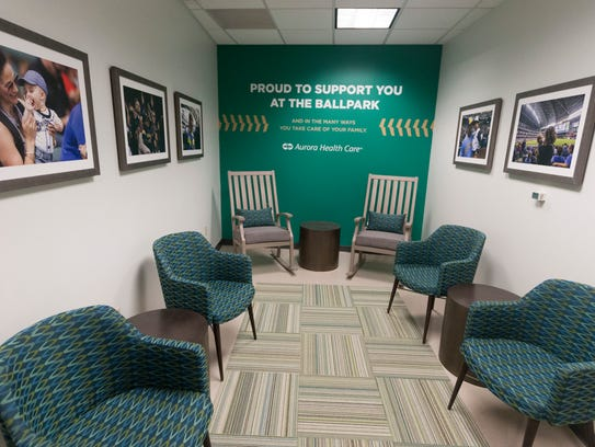 The Aurora Health Care Mothers Nursing Suite is a new area at Miller Park in 2018. The suite is located on the Field Level within the first aid area.