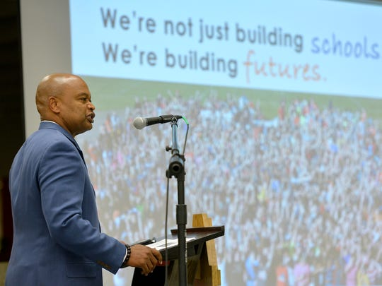 St. Cloud School District Superintendent Willie Jett outlines plans for the new Technical High School building and renovations to Apollo High School during a community referendum presentation on Oct. 3 at Apollo.