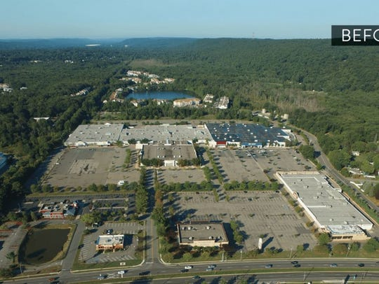 An aerial view of the Ledgewood Mall as it currently