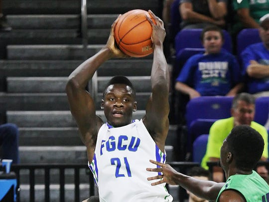 FGCU's Demetris Morant rebounds against Ave Maria on Friday at Alico Arena in Fort Myers.