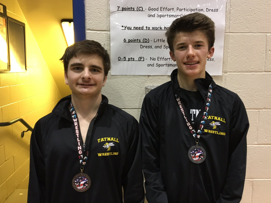 Tatnall grapplers Jack Tigani, left, and Beau Neff won third place and second place, respectively, during the Bulldog Invitational.