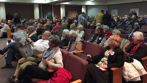 A crowd awaits the start of Augusta County's public