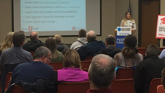 Milissa Kloida, a resource counselor with University of Wisconsin-Fox Valley, offered tips about the college application process Tuesday night at the Appleton Public Library.