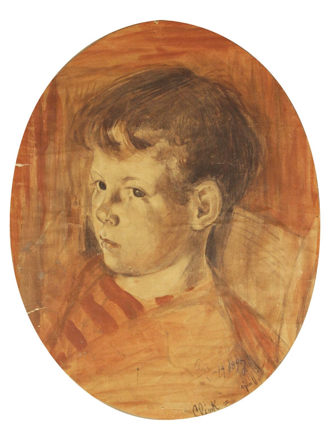 """Portrait of Clink"" is an 1897 work by Rose O'Neill"