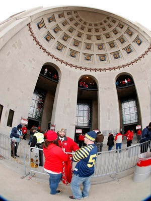 Outside Ohio Stadium at the Michigan game in 2014.