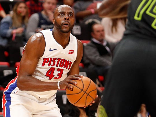 Feb 14, 2018; Detroit, MI, USA; Pistons forward Anthony