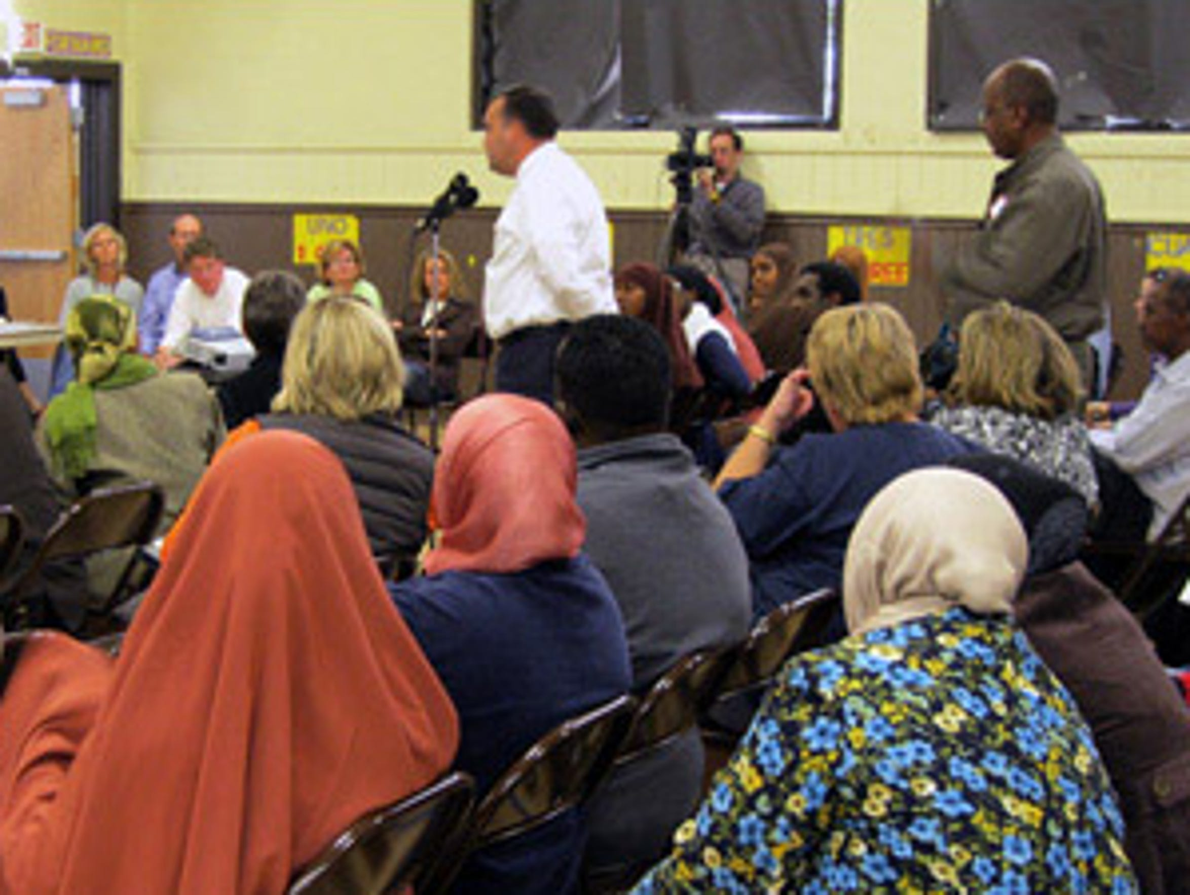 The Eden Prairie School Board listens to input from