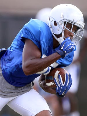 MTSU's Terelle West (35) runs the ball during practice, on Wednesday, Sept. 7, 2016.