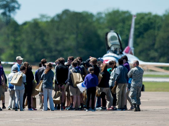 Students get a sneak peek at the Maxwell Air Show as it is set up at Maxwell Air Force Base in Montgomery, Ala., on Friday April 7, 2017. The free air show is on Saturday and Sunday.