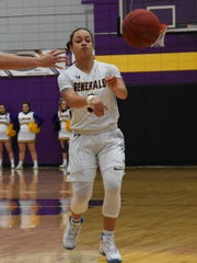 LSUA's Brittany Hall (3) passes to an open teammate in a game against Louisiana State University at Shreveport on Jan. 17, 2019.